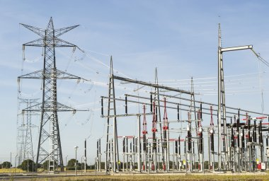 Power lines of electrical station