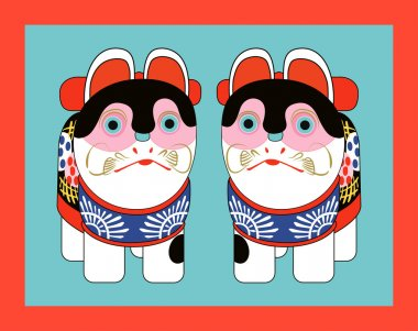 Traditional Japanese toy cat figurines