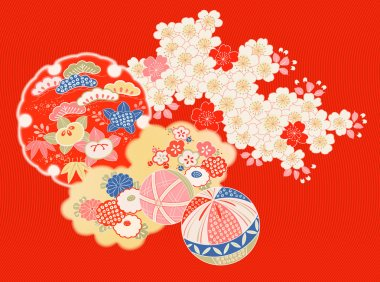 Design elements from old Japanese kimono clip art vector
