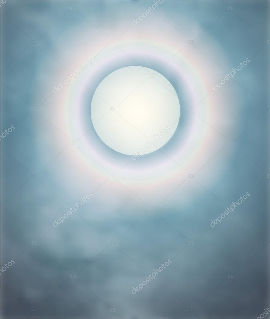 Rainbow around the moon on a misty night