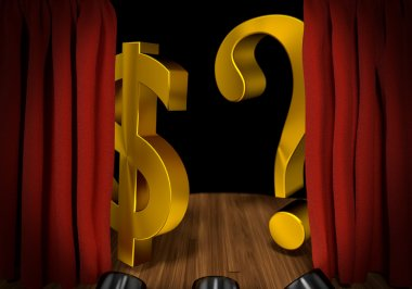 Gold dollar sign and question on stage