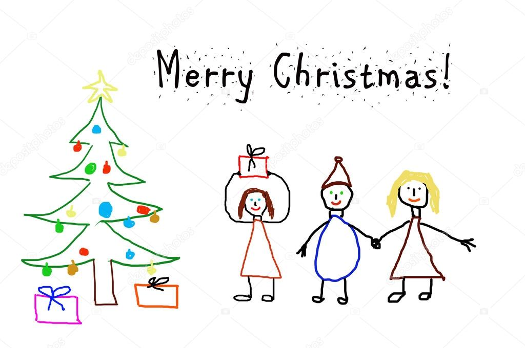 Kids drawing - christmas card — Stock Photo © paulmalaianu #37561617