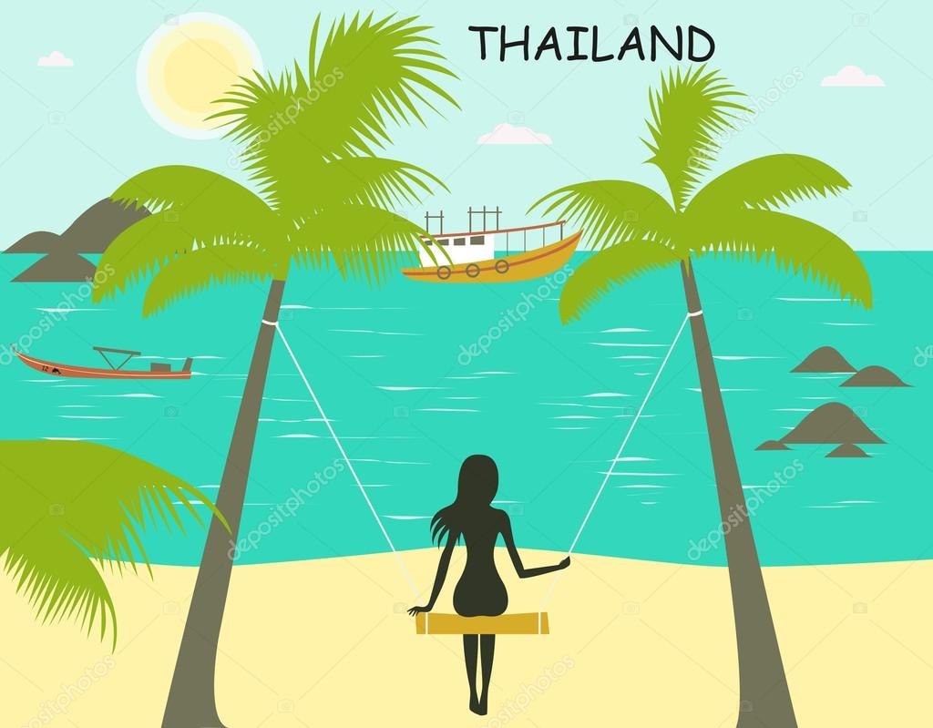 Tropical beach with boats and girl on swing