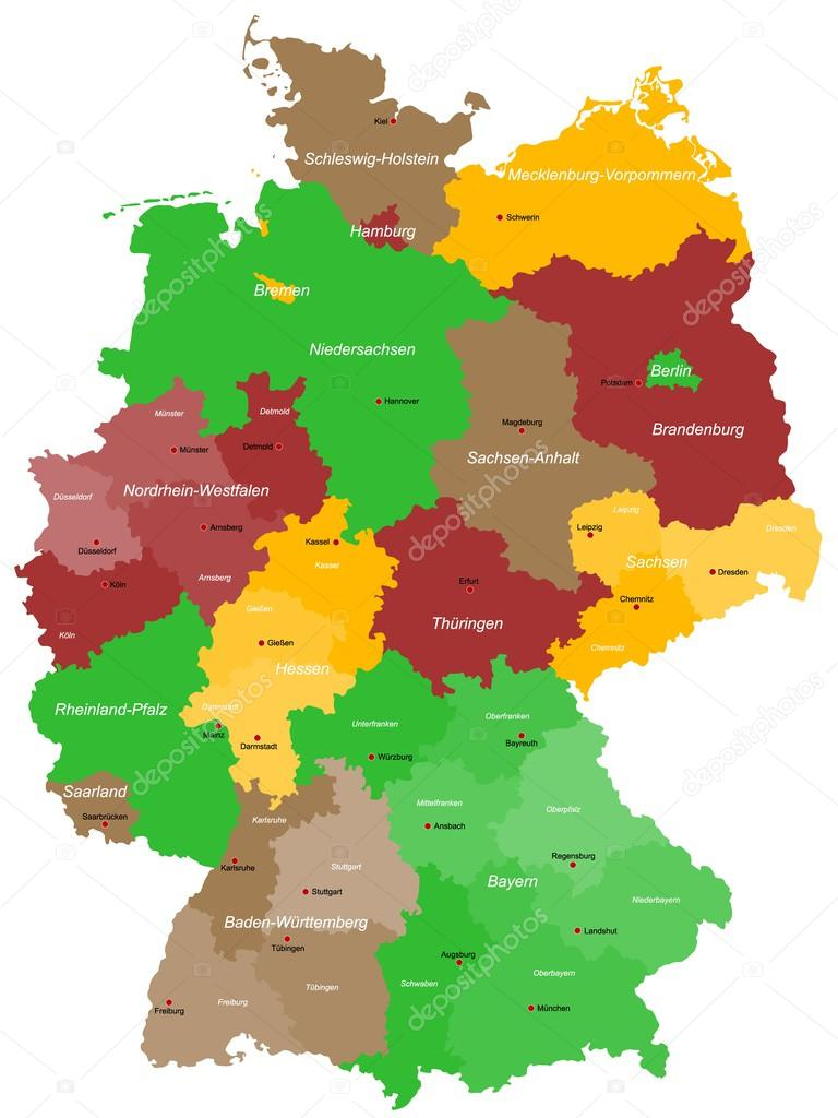a detailed colorful map of germany with all counties and big cities vector by malachy666