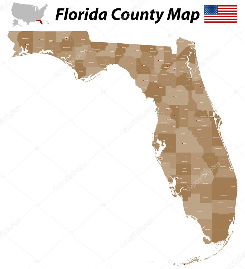 Florida County Map  Stock Vector  Malachy - Florida state map with counties and cities