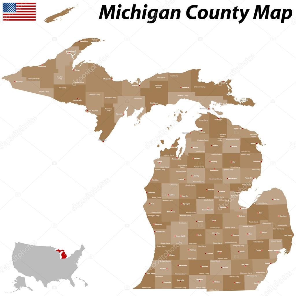 Michigan County Map Stock Vector Malachy - Michigan county map