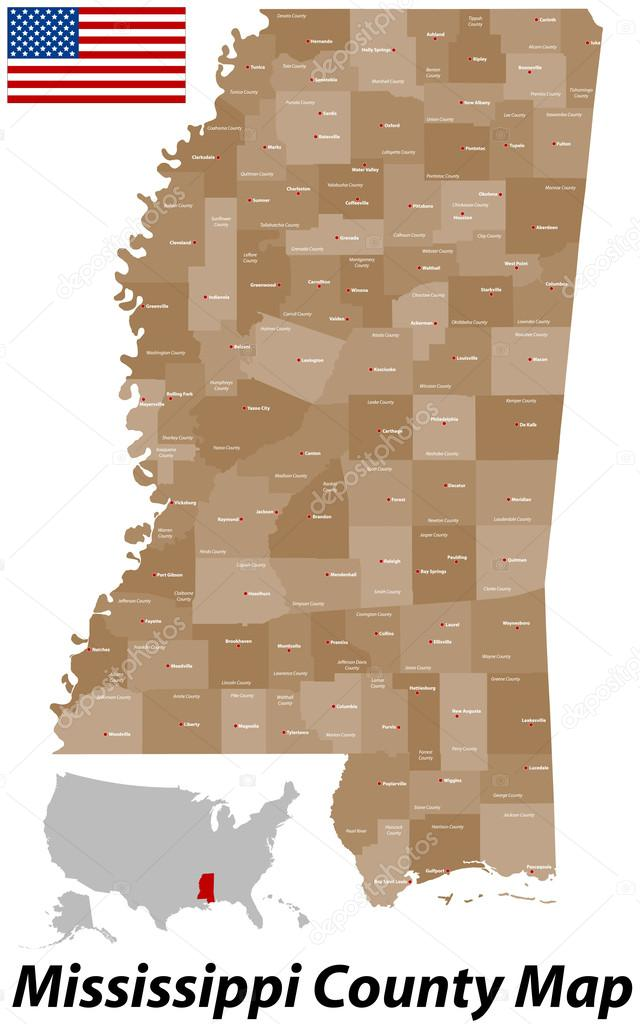 Mississippi County Map Stock Vector Malachy - Mississippi counties map