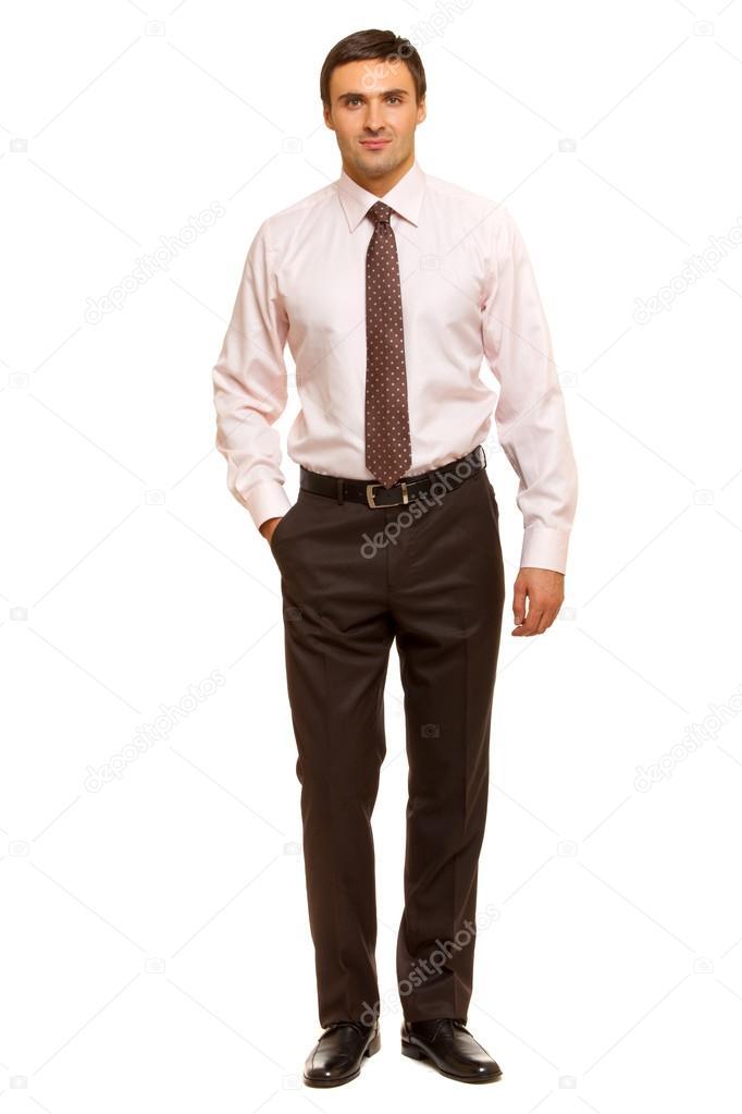 homme bien habill en costume cravate homme d 39 affaires charismatique debout sur fond blanc. Black Bedroom Furniture Sets. Home Design Ideas