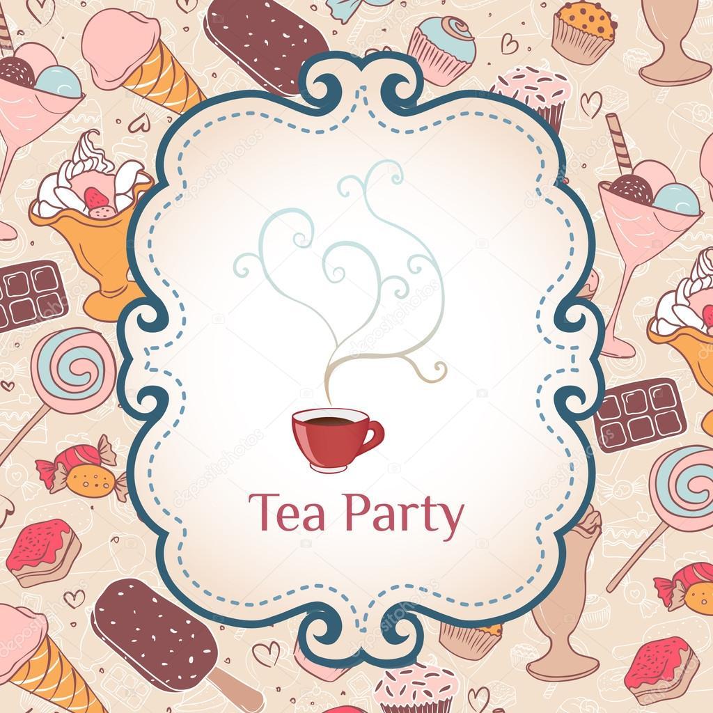 Tea party invitation vintage style frame — Stock Vector © vgorbash ...