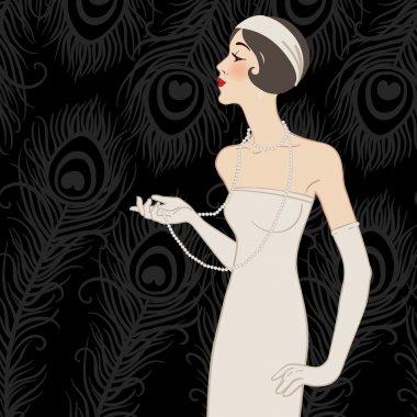 Flapper girl: Retro party invitation design (black)