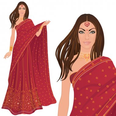 Beautiful indian woman wearing bridal outfit on white stock vector