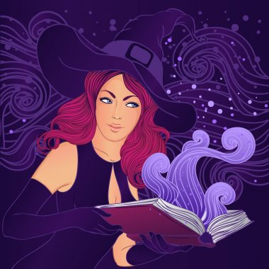 Halloween pretty witch with a magic book