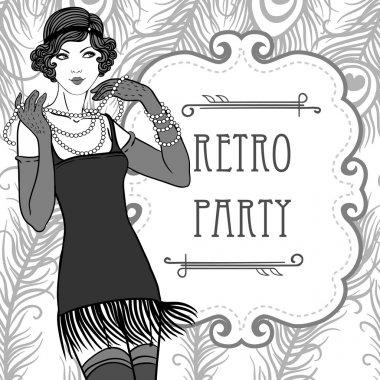 Flapper retro party invitation design