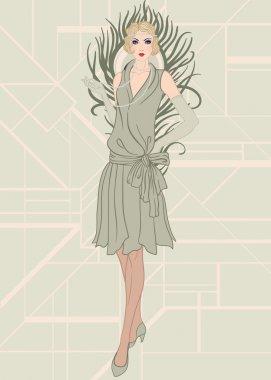 Flapper girl: Retro party invitation design.