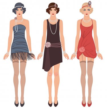 three young flapper women of 1920s