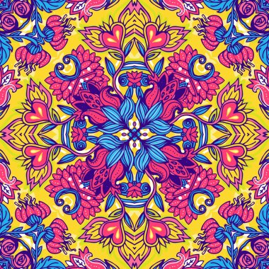Squared ornamental floral paisley pattern