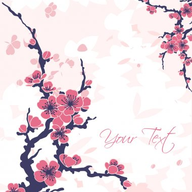 Abstract romantic vector floral background with sakura branch stock vector