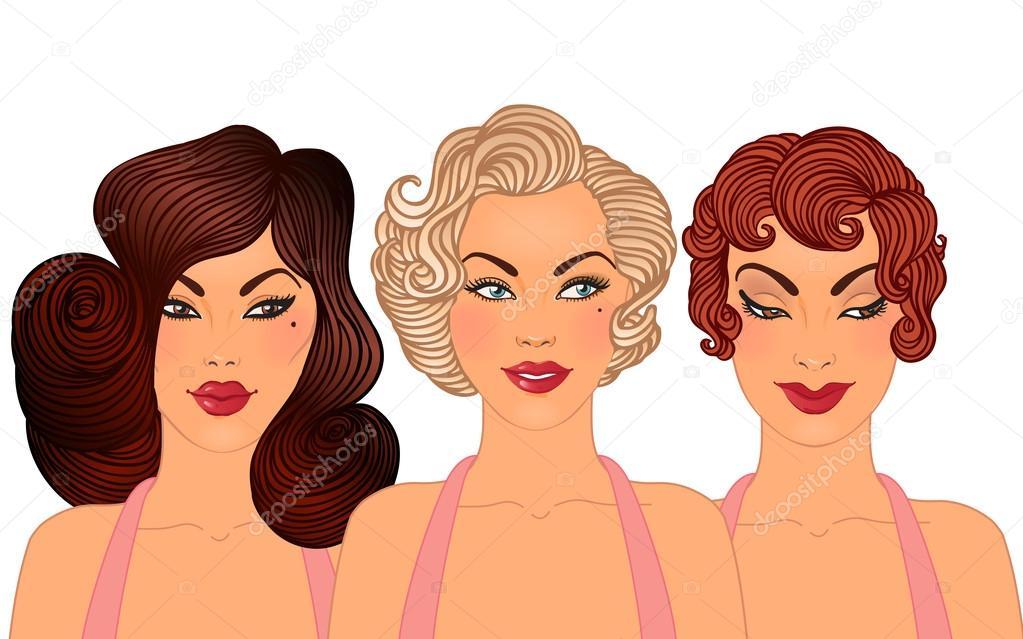 Frisuren Und Make Up Stile Der 50er Jahre Stockvektor Vgorbash