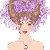 Fotografie astrologické znamení Býka jako krásná dívka