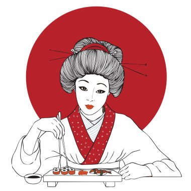 Traditional japanese pretty girl enjoy sushi