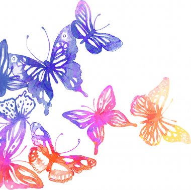 background with butterflies and flowers