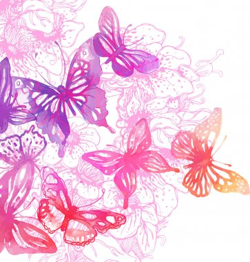 Butterflies and flowers painted with watercolors