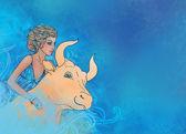 Fotografie Taurus znamení zvěrokruhu jako krásná dívka