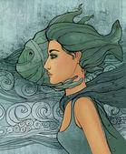 Fische astrologisches Zeichen als schönes Mädchen