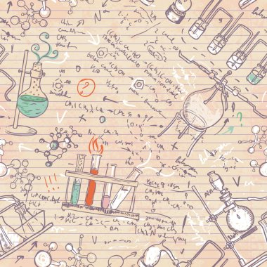 Old chemistry laboratory seamless pattern background in vintage style stock vector