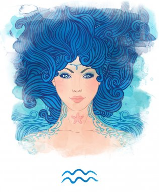 Aquarius astrological sign as a beautiful girl