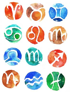 Watercolor zodiac signs icon set