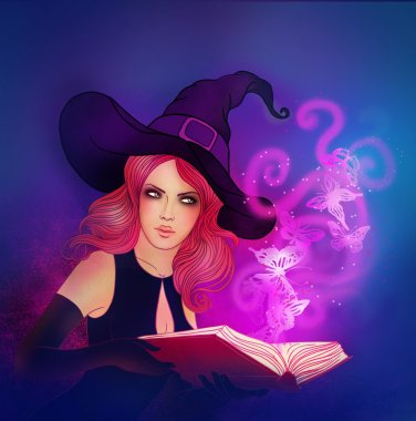 Witch holding a magic book