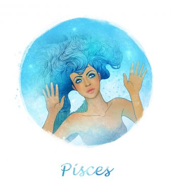 Pisces zodiac sign as a beautiful girl
