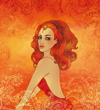 Leo astrological sign as a beautiful girl