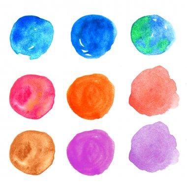Watercolor hand painted circle design elements