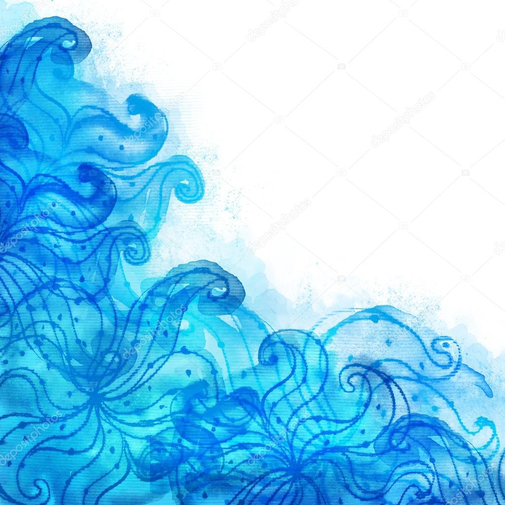 Fondo Azul Con Dibujos Pintados Con Acuarela Fotos De Stock