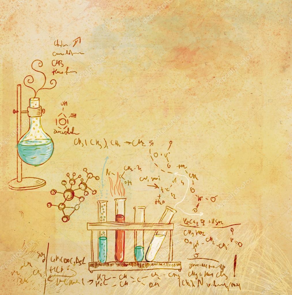 antiguo fondo de laboratorio de química en estilo vintage ...