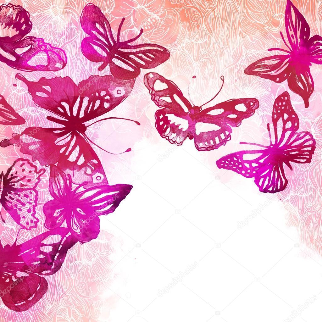 Sfondo con farfalle e fiori foto stock vgorbash 40838863 for Sfondi con farfalle