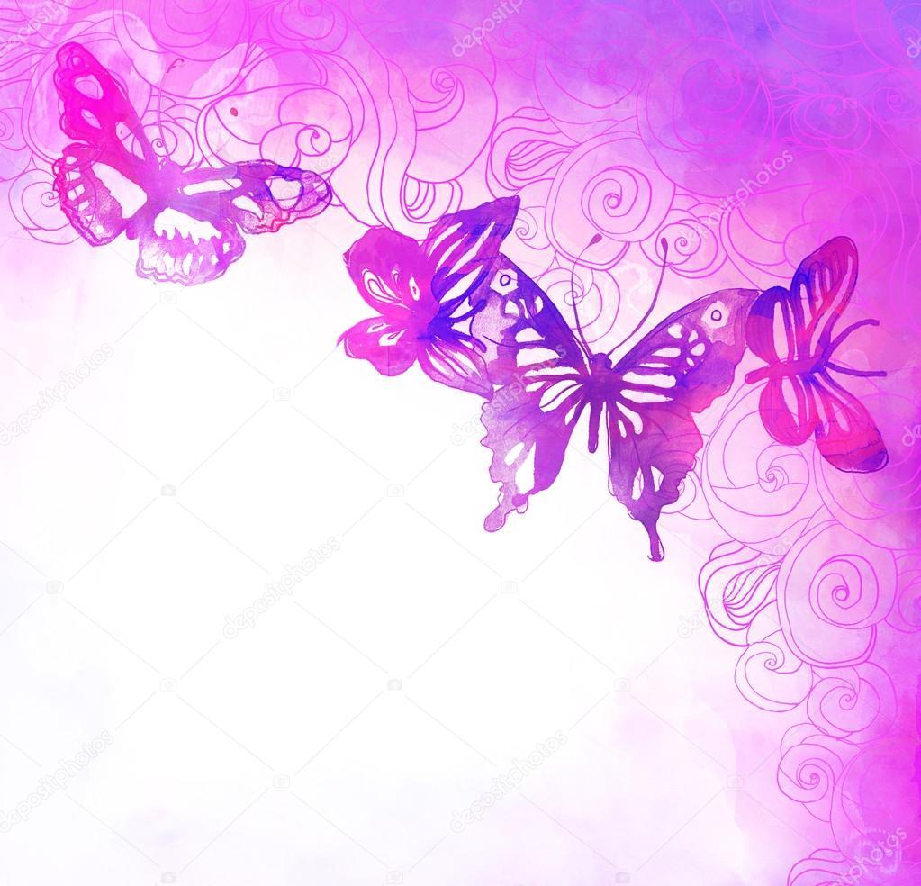 Sfondo con farfalle e fiori foto stock vgorbash 40839149 for Sfondi con farfalle