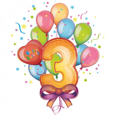 Balloons on the third birthday