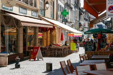 A typical colourful street scene in Boulogne France
