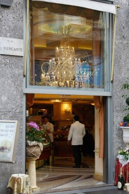View into Caffe Mercanti Milan Italy