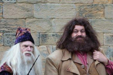 Hagrid and Dumbledore performing at Alnwick Castle