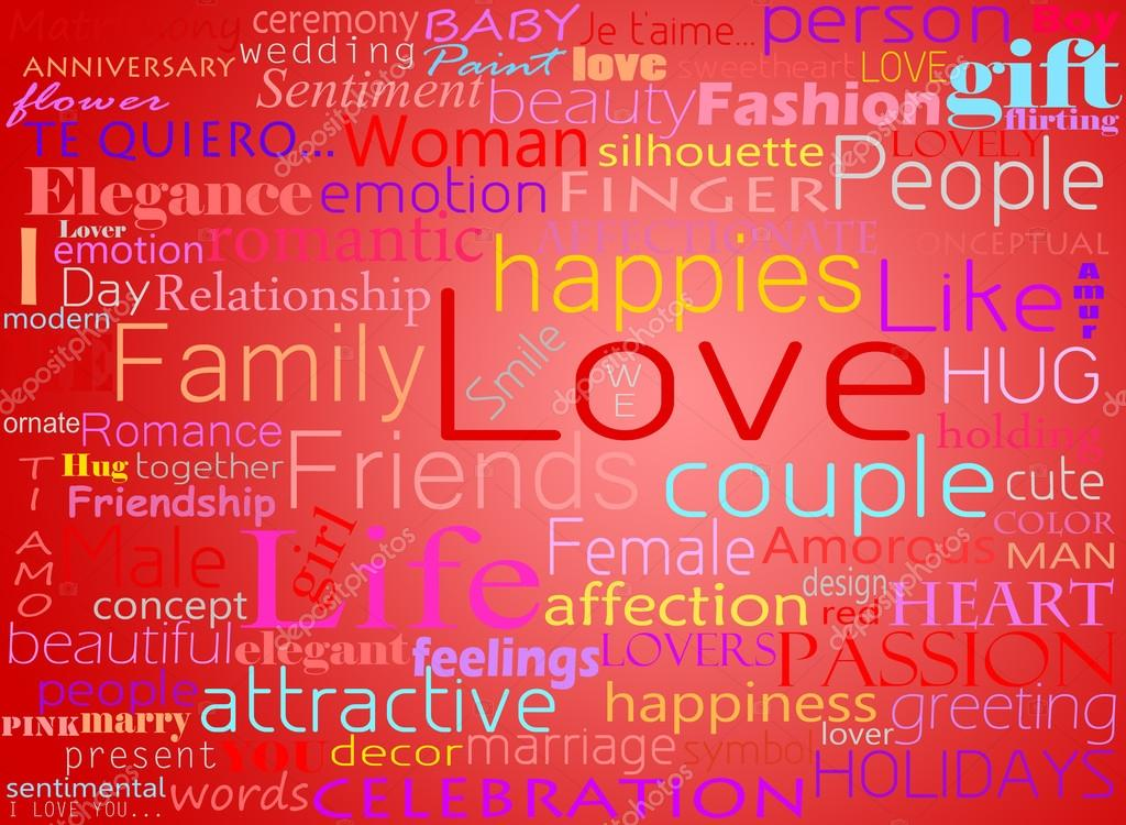 Seamless pattern made from words which relate with word love stock vector