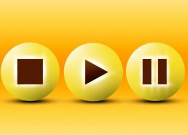 Play, stop and pause buttons stock vector