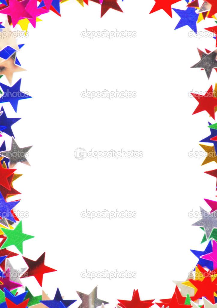 confeti de marco de diferentes colores en forma de estrella — Foto ...