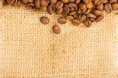 káva na pytlovina pozadí