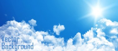 Blue sky with clouds. Vector background.