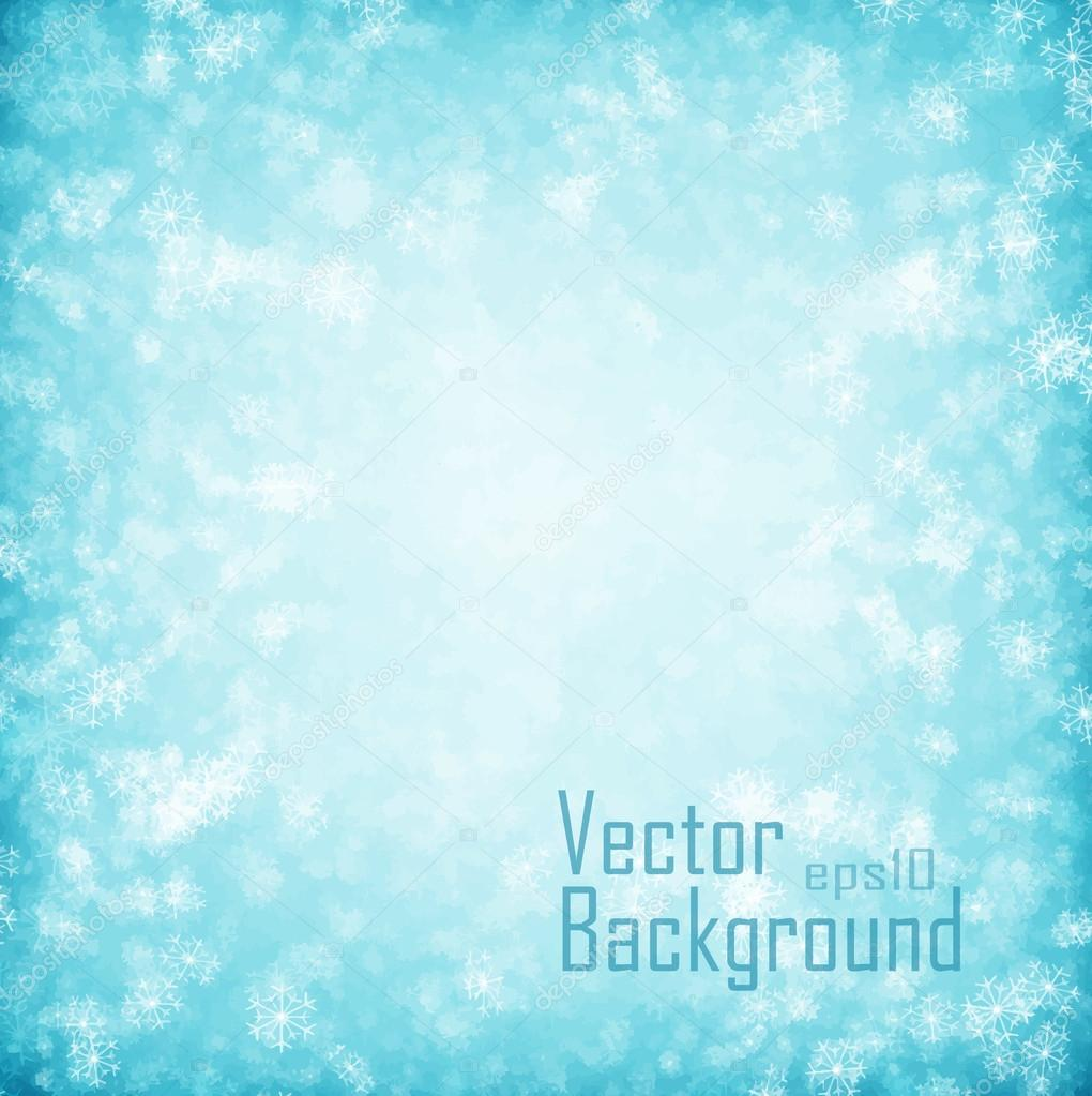 Vector. Blue background or winter snowflakes background.