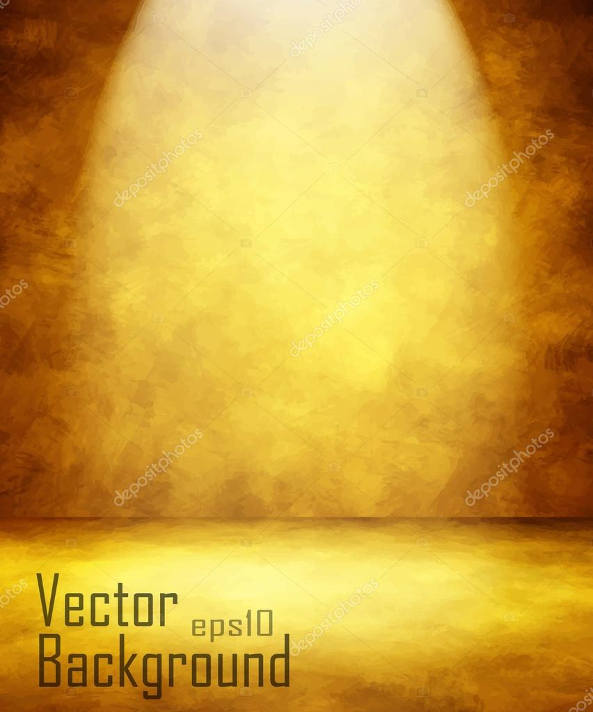 grunge gold retro vintage interior, vector background